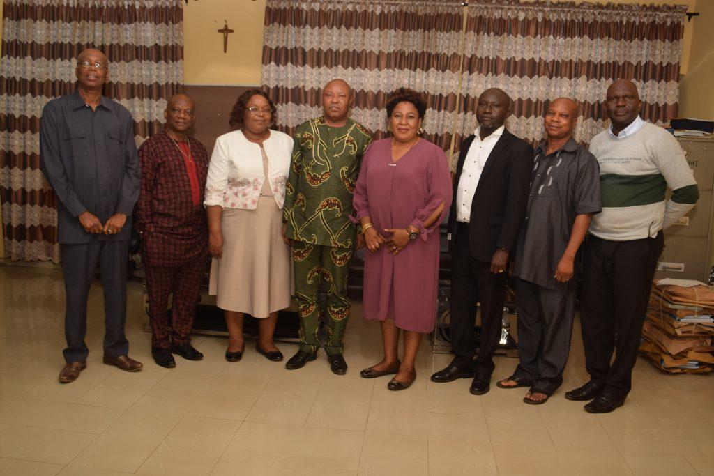 L-R: Dr Udensi, the Deputy Provost, Dr Christopher Ugwuogo, Mrs Nkah, Dr Ugwuanyi, the Provost, Dr Okoli, Comrade Echedo, Dr Omile and Dr Agada